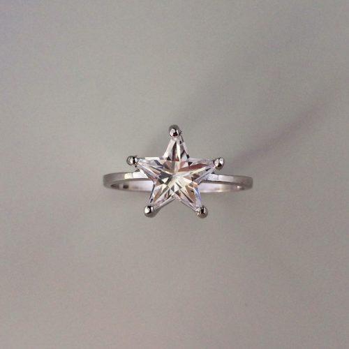 Inel stea din argint cu zircon