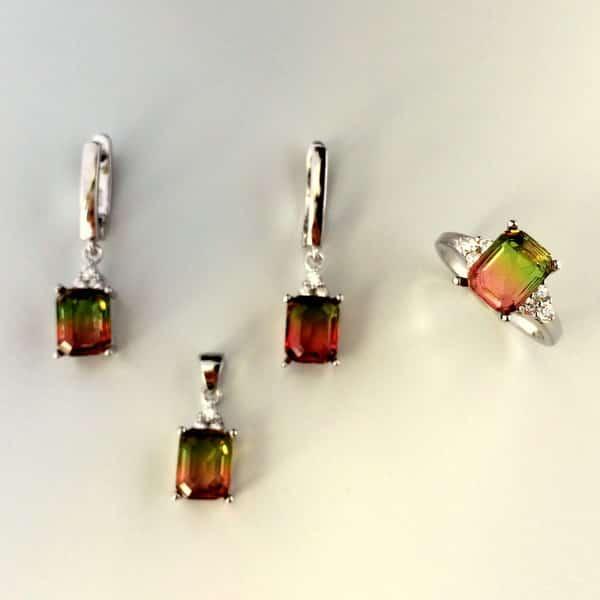 dantela înăuntru colecție nouă comercializează Set Turmalina multicolora din argint (cercei, pandantiv si inel)