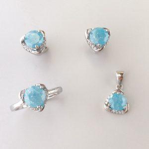 Set argint cu Calcedonie bleu