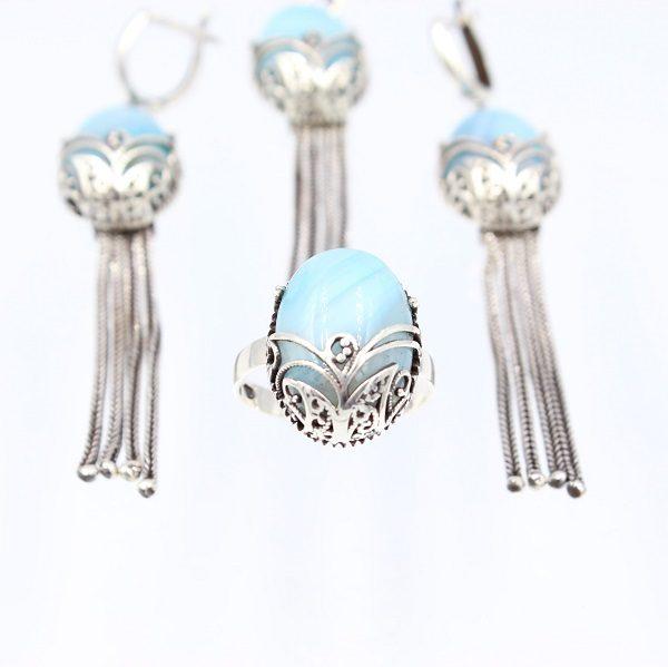Set argint Calcedonie bleu