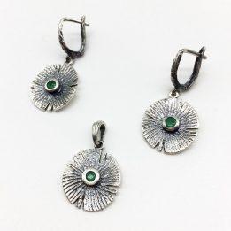 Set argint patinat cu smarald