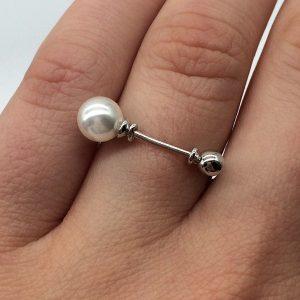 Inel argint perla