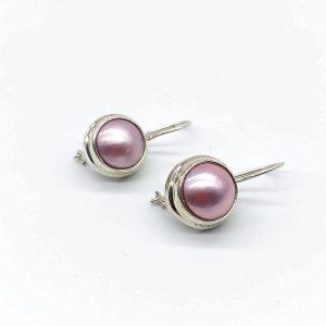 Cercei cu perla roz