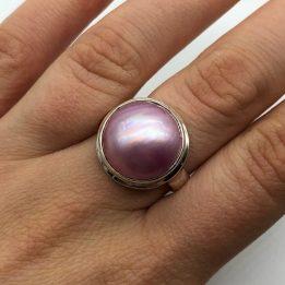 Inel perla roz argint