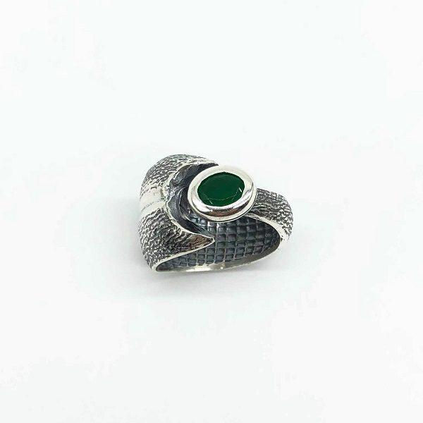Inel masiv argint cu smarald