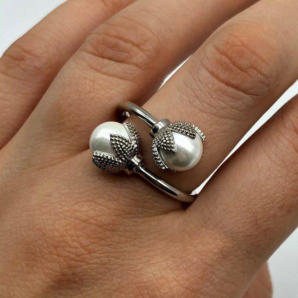 Inel argint cu perle