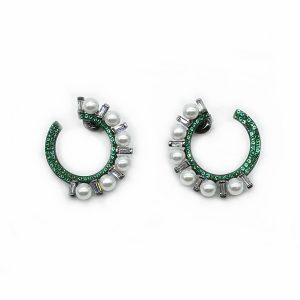 Cercei perle argint si zirconii verzi