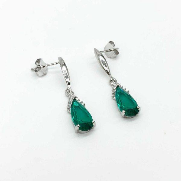 Cercei piatra verde smarald din argint