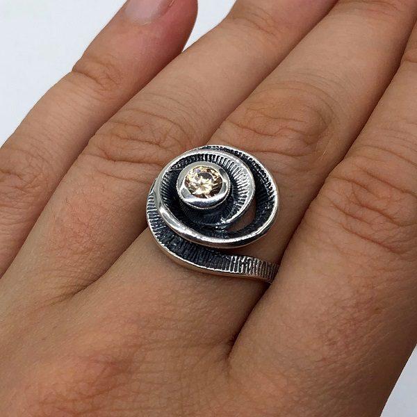 Inel argint spirala