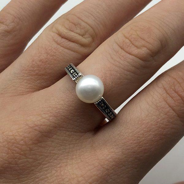 Inel minimalist argint cu perla