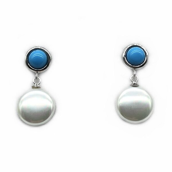 Cercei cu perla si turcoaz din argint
