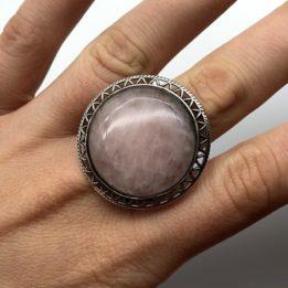 Inel cuart roz argint