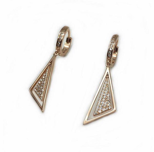 Cercei triunghi argint roz