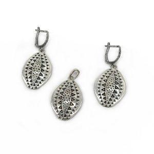 Set argint tribal (Cercei si pandantiv)