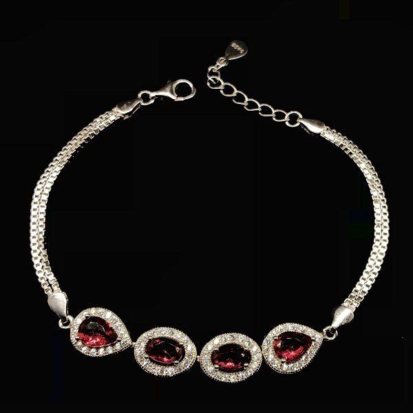 Bratara eleganta argint cu pietre rosii
