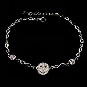 Bratara Smiley Face argint si infinit
