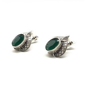 Cercei argint smarald