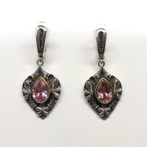 Cercei vintage argint cu piatra roz