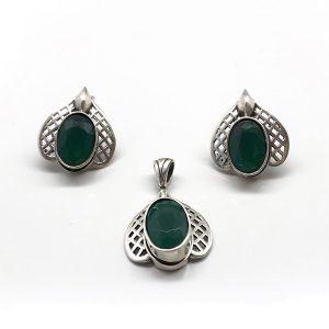 Set smarald argint (cercei si pandantiv)