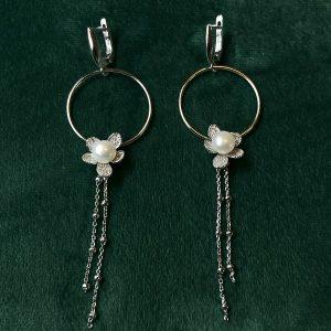 Cercei lungi cu perla din argint