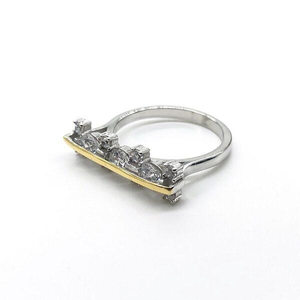 Inel argint rodiat galben cu zirconii