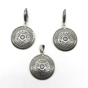 Set argint Mandala (Cercei si pandantiv)