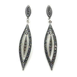 Cercei eleganti cu marcasite din argint