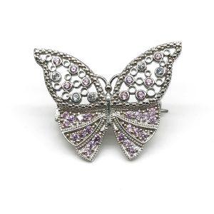 Brosa argint fluturas