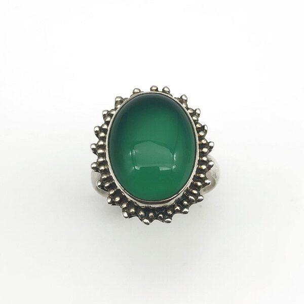 Inel agat verde argint