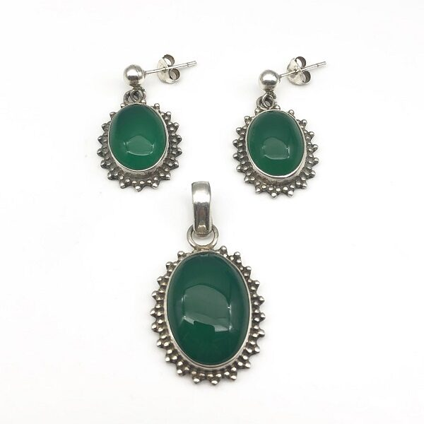 Set agat verde argint (cercei si pandantiv)