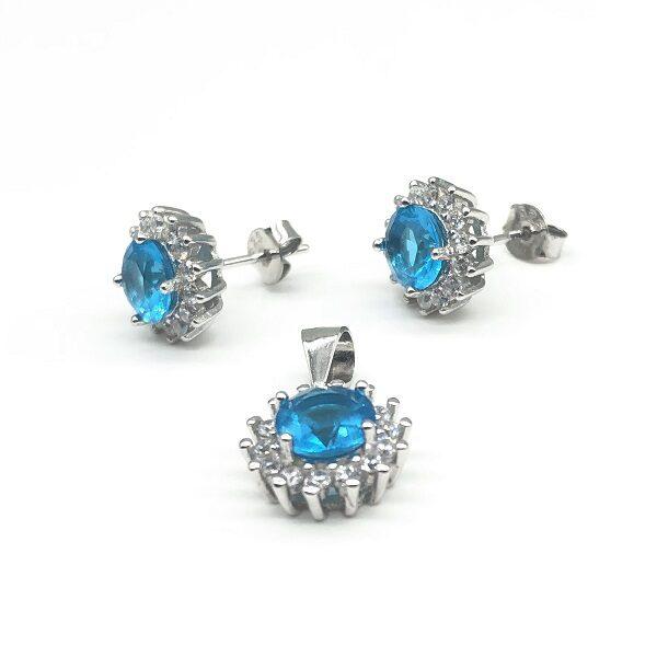 Set cu zirconiu bleu din argint