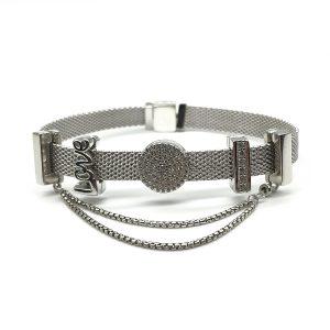 Bratara argint impletit, model Pandora, cu talismane