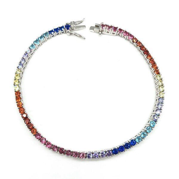 Bratara tennis argint cu zirconii colorate