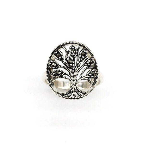 Inel copacul vietii argint cu marcasite