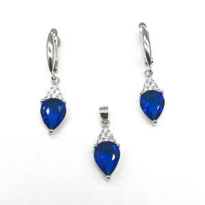 Set zircon albastru argint