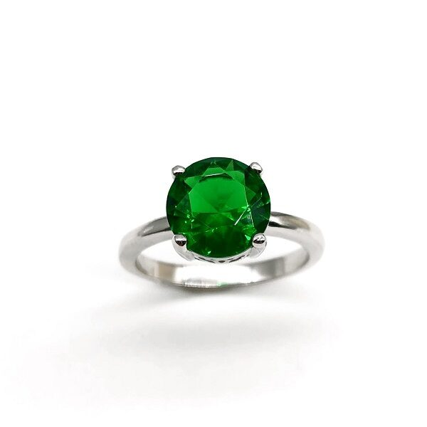 Inel piatra verde argint
