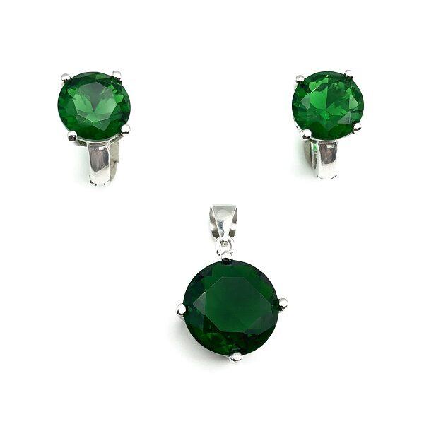 Set piatra verde smarald argint