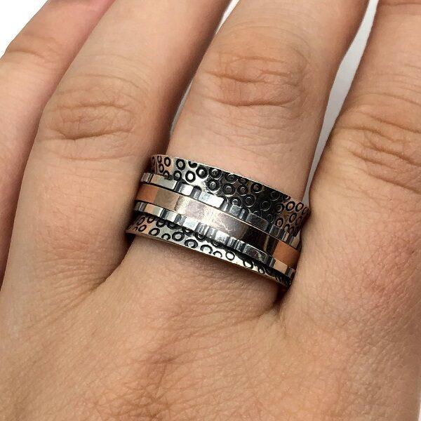 Inel antistres argint masiv tip verigheta