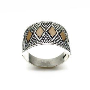 Inel lat argint aspect antic, Israel