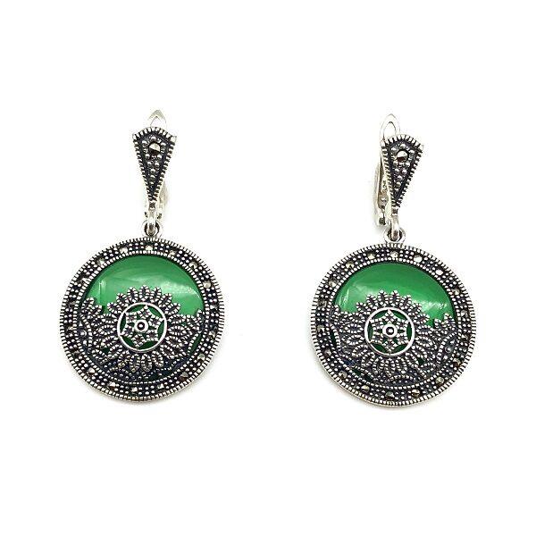 Cercei agat verde si marcasite din argint