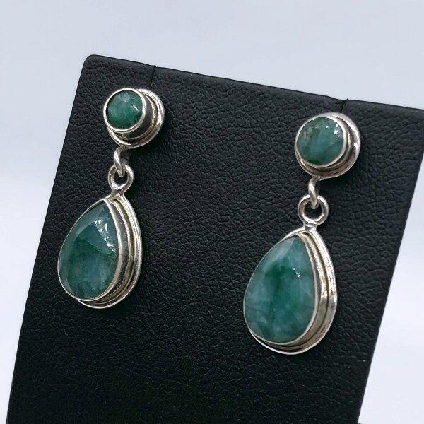 Cercei smarald argint