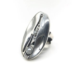 Inel cu perle din argint masiv, reglabil