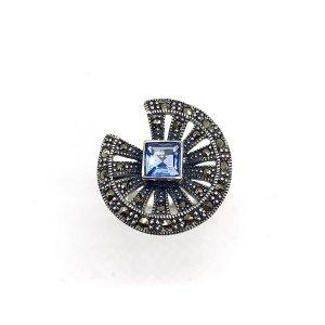 Inel cu Topaz london blue si marcasite din argint