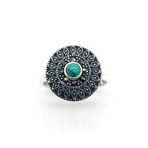 Inel turcoaz argint si marcasite model oriental